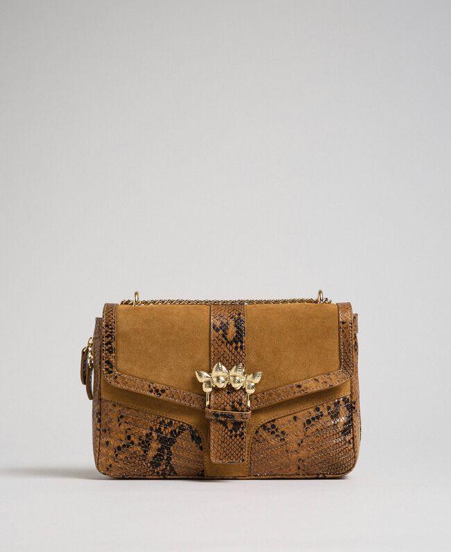 Grand sac Rebel à bandoulière en cuir et cuir velours Imprimé Python Brandy Femme 192TO8241-01