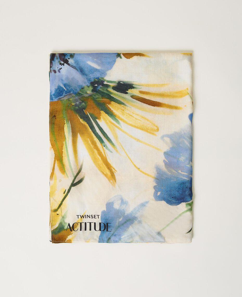"Floral print kefiah ""Summer Hibiscus"" Blue Print Woman 211MO5365-02"