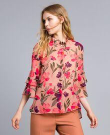 "Bluse aus Chiffon mit Blumenprint Print ""Rosa Tulpe"" Frau TA825S-01"