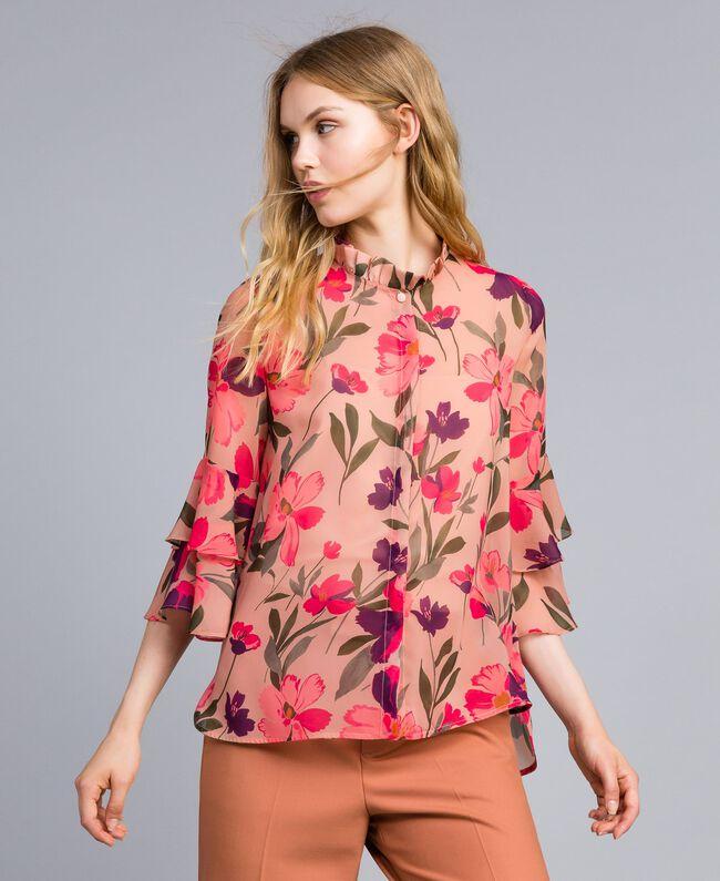 637a4851fe5 Chiffon shirt with floral print Pink Tulip Print Woman TA825S-01