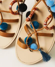 "Leather sandals with pompoms and charms ""Nautical Blue"" / ""Indigo"" Blue / Black Multicolour Woman 211TCT180-05"