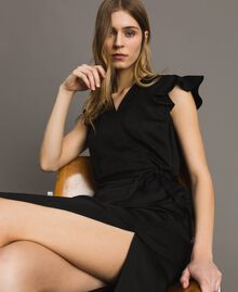 Envers satin linen long dress Black Woman 191TT2303-05