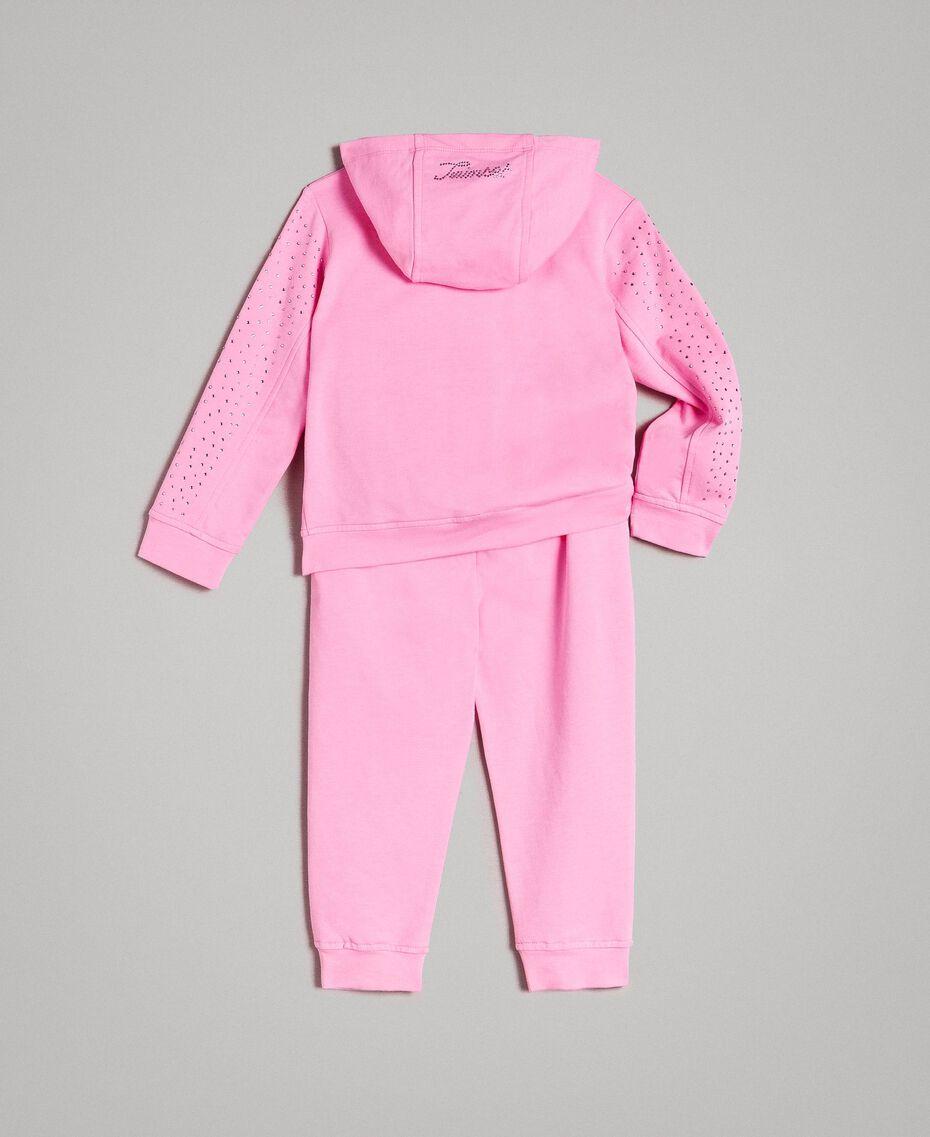 "Stretch-Trainingsanzug aus Baumwolle mit Strass ""Crystal Pink"" Kind 191GB2461-0S"