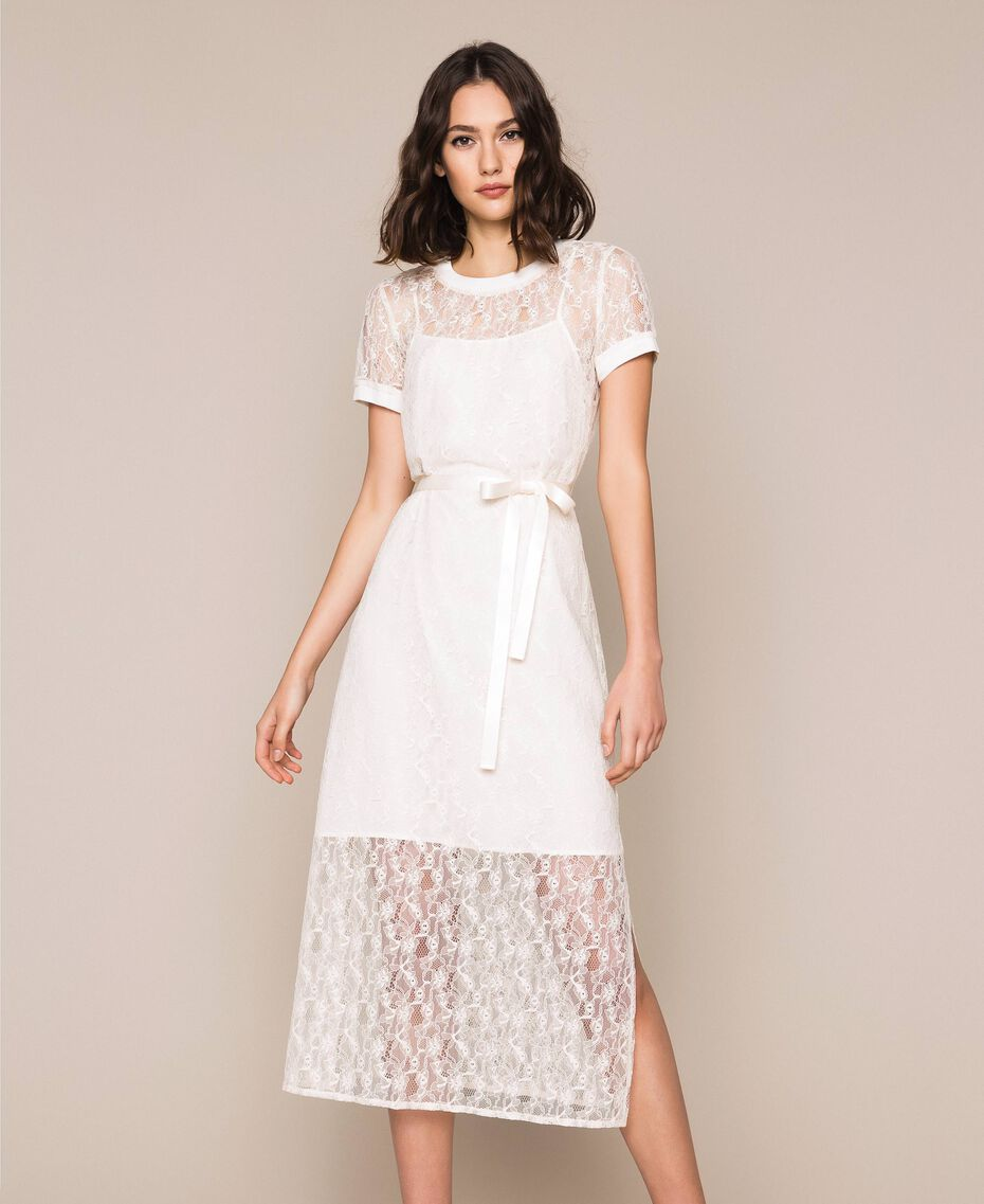 """Длинное кружевное платье с поясом Белый """"Шелк"""" женщина 201ST2151-02"""
