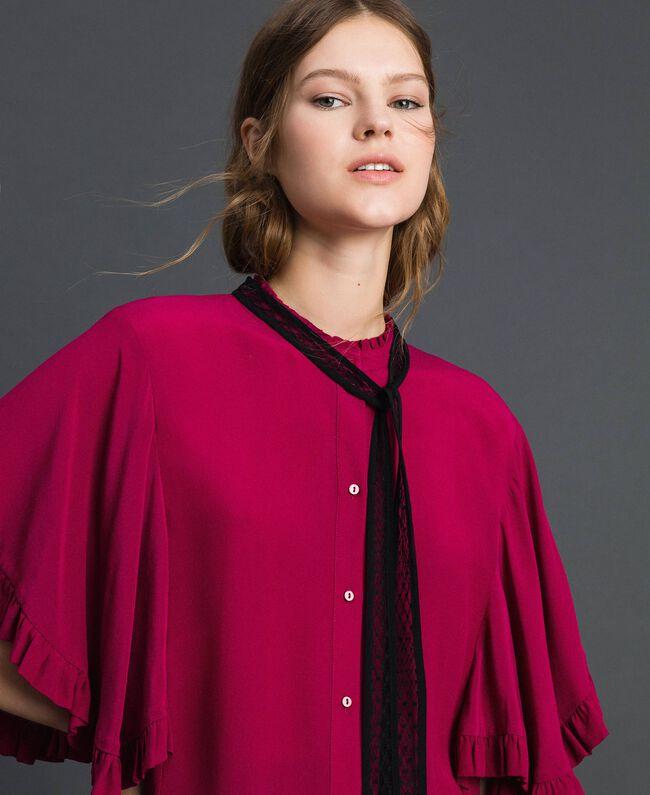 Chemise en crêpe de Chine de soie mélangée Rouge Betterave Femme 192TP2260-01