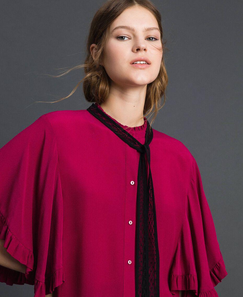 Crêpe de Chine silk blend shirt Beet Red Woman 192TP2260-01