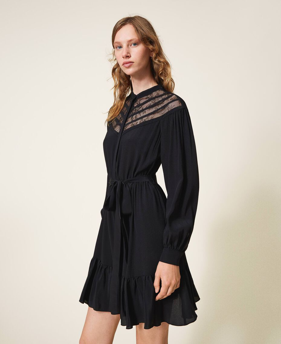 Silk blend dress with laces Black Woman 202TT2240-02