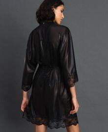 Robe de chambre en mousseline lamée Noir Femme 192LL2HCC-03