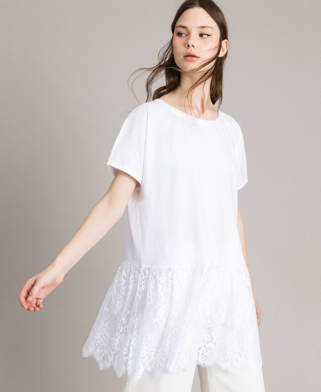 Maxi T-shirt with lace White Woman 191TP260G-01