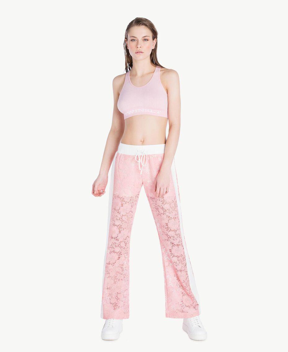 Hose aus Spitze Zweifarbig Pinkie / Optisches Weiß Frau LS89CC-02