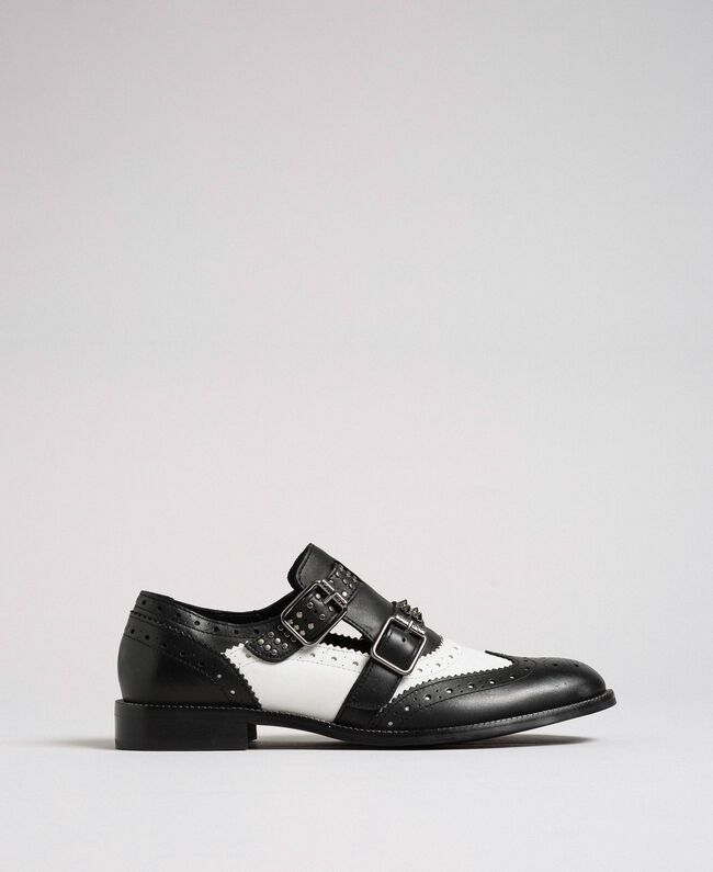 Leather shoes with tie up laces and studded straps Optical White / Black Woman 192TCP10U-04