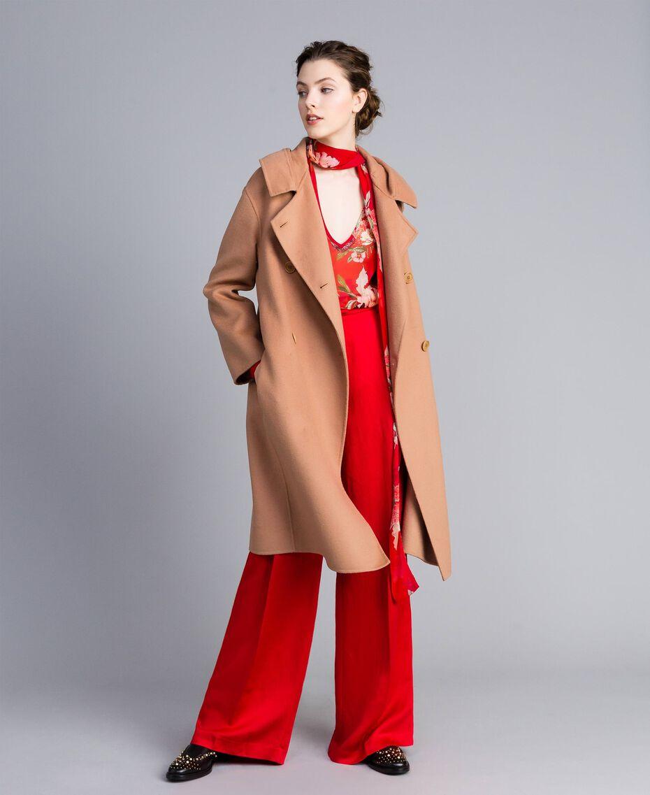 "Bluse aus geblümtem Georgette Print ""Red Garden"" Frau PA8274-0T"