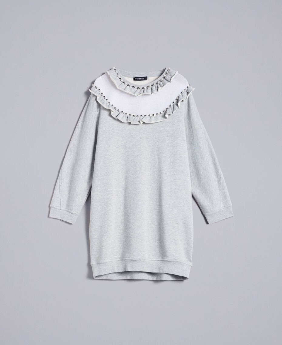 Maxi cotton sweatshirt with tulle inserts Melange Grey Woman PA82CC-0S