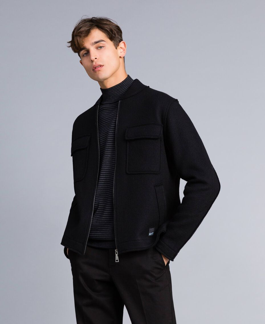 Pull col montant in laine rayée Bicolore Gris Anthracite Chiné / Noir Homme UA83AC-0T