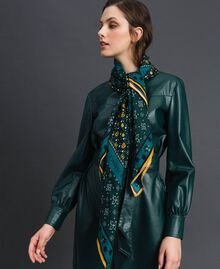 Floral print kefiah with logo Mineral Green Mix Print Woman 192TA440C-0S