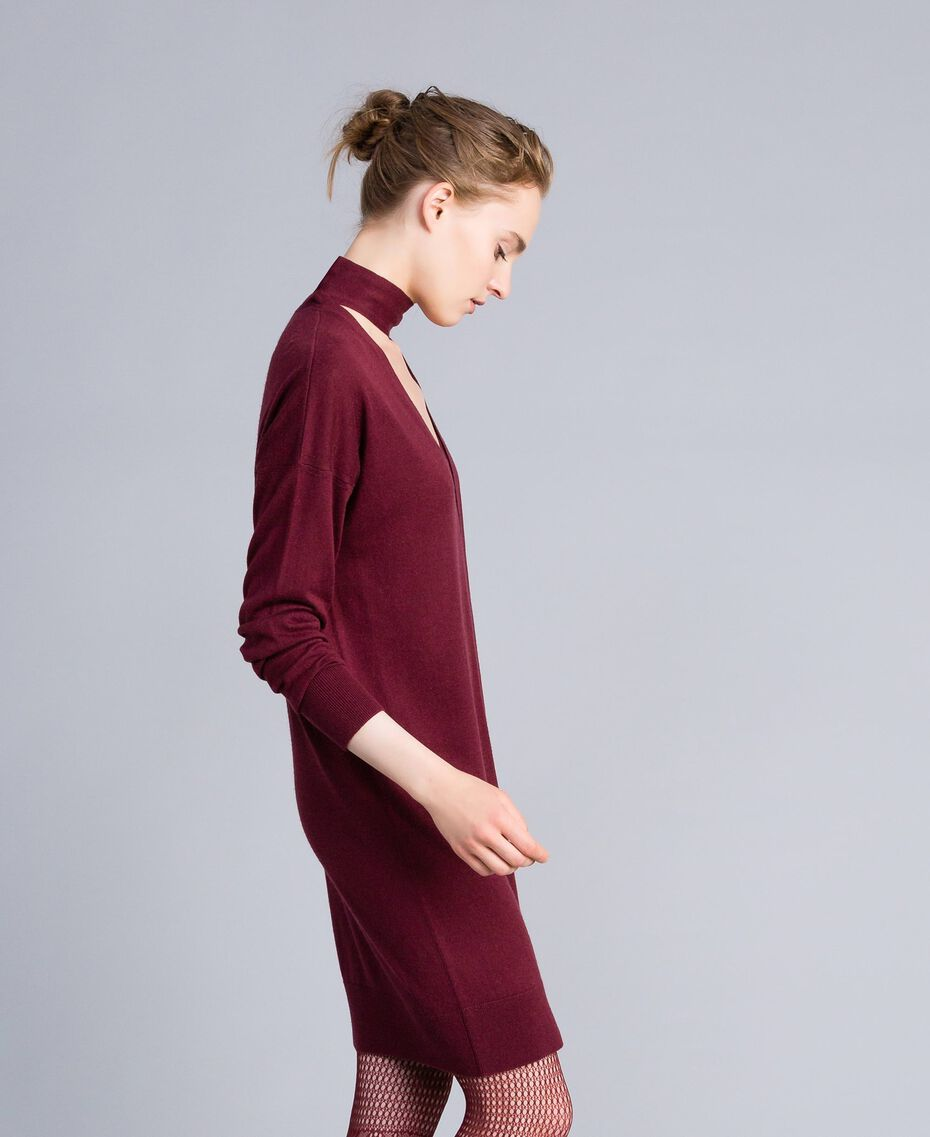 Kleid aus Seide und Kaschmir Bordeaux Frau PA83GE-02