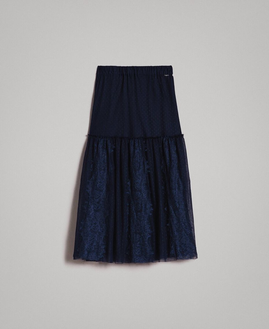 Tulle and lace mid-length skirt Blue Shadow Woman 191ST2072-0S