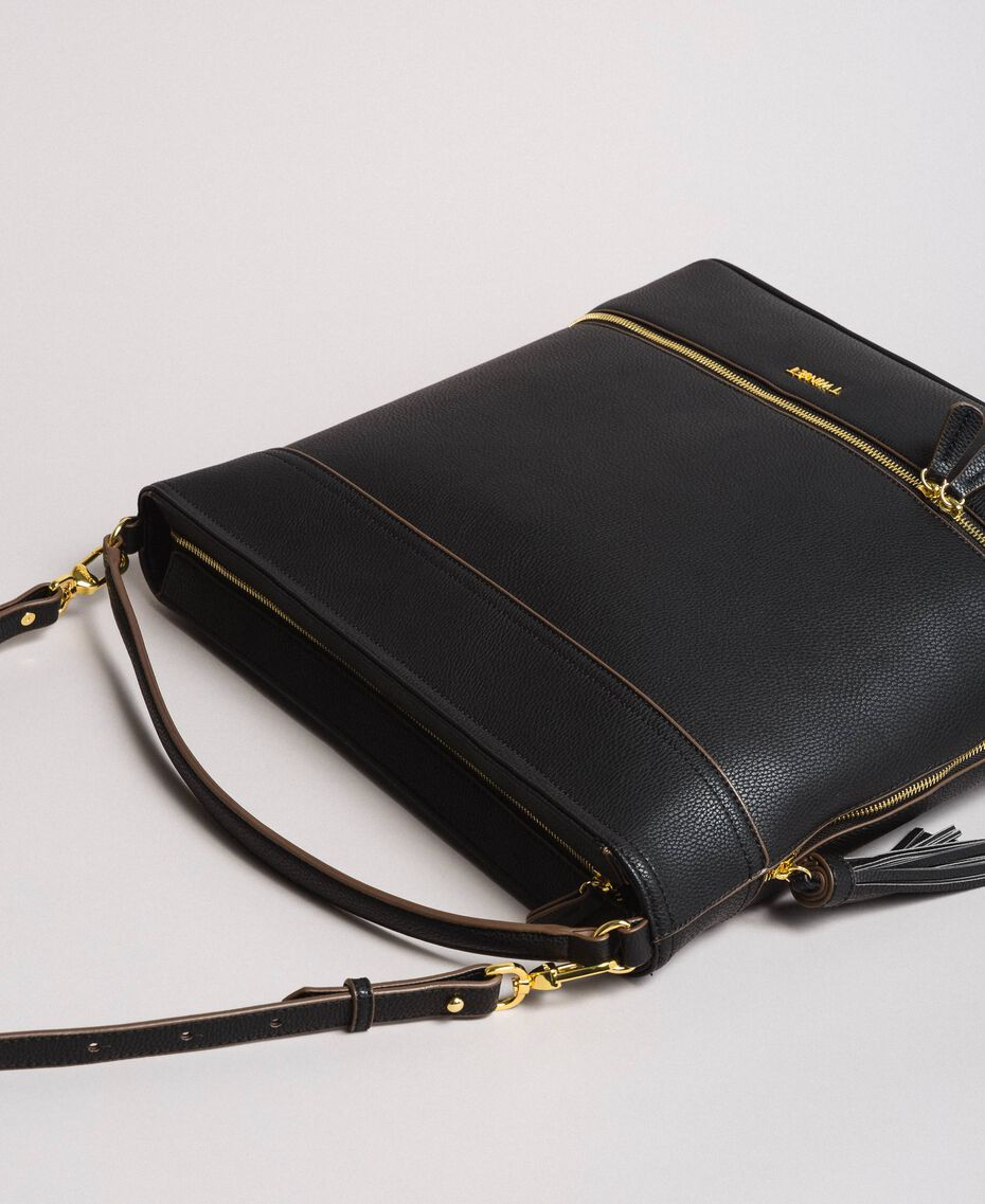 Faux leather hobo bag with tassel Black Woman 191TA7600-02