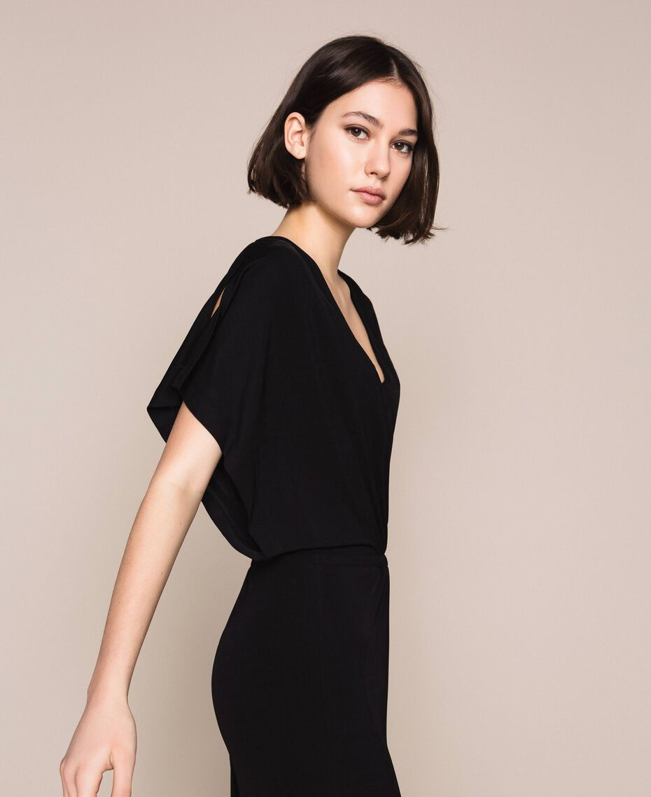 Jumpsuit with side slits Black Woman 201LM2EDD-02