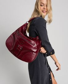 Crackled effect leather hobo bag with studs Beet Red Woman 192TA7236-0S