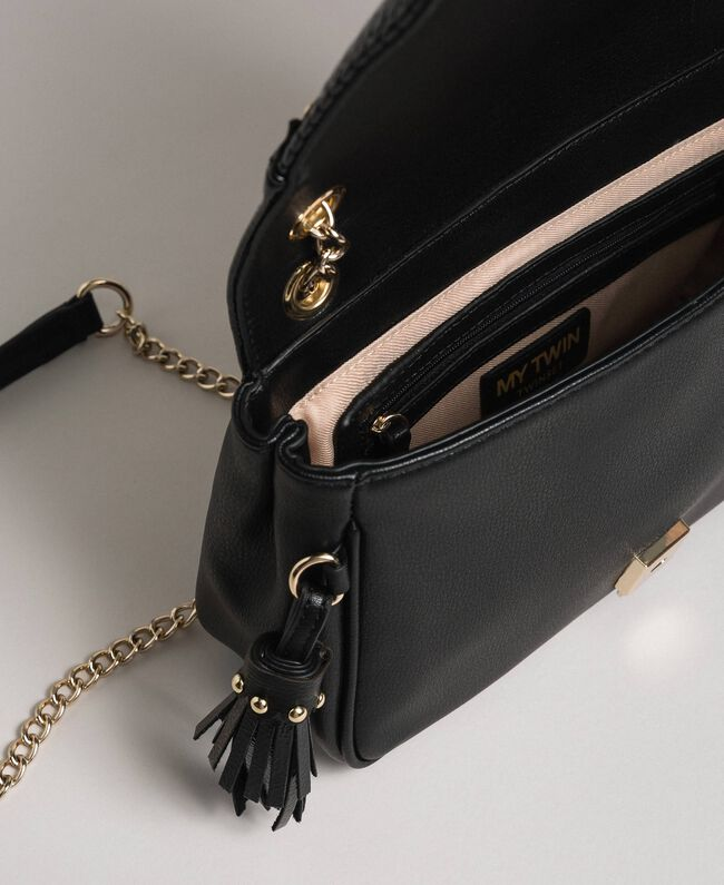 Faux leather shoulder bag with chain and studs Black Woman 192MO8013-04