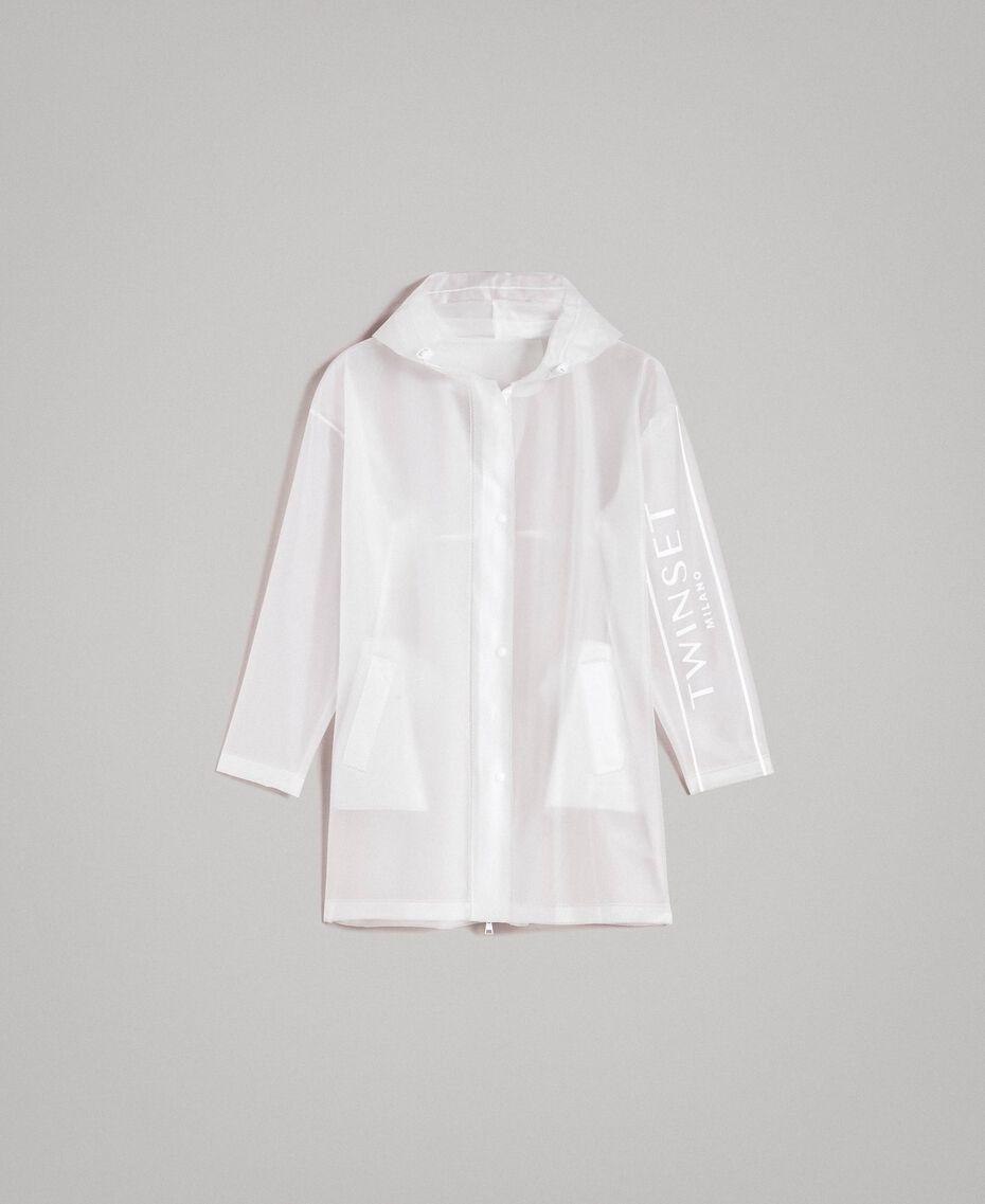Parka antipioggia con logo Bianco Seta Opaco Donna 191TP2030-0S