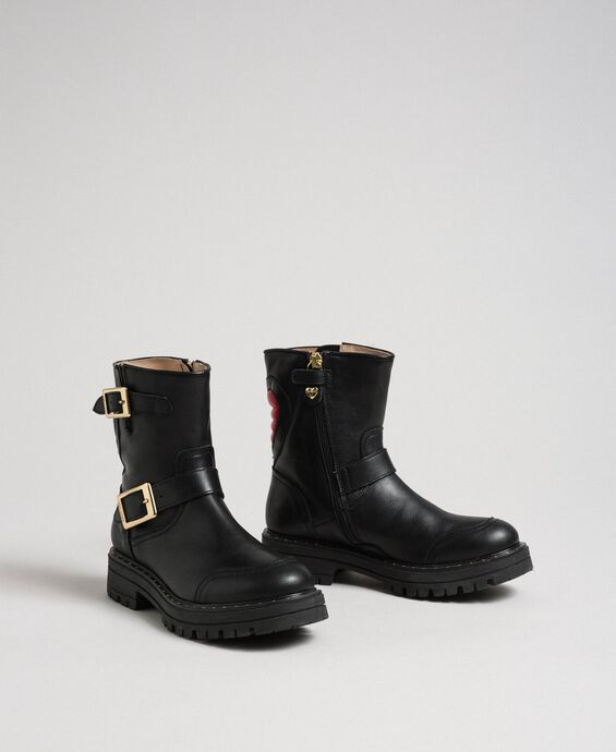Leather biker boots with heart