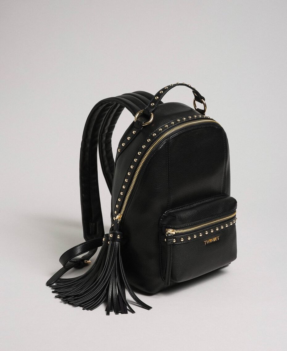 Faux leather backpack with studs Black Woman 192TO8165-02