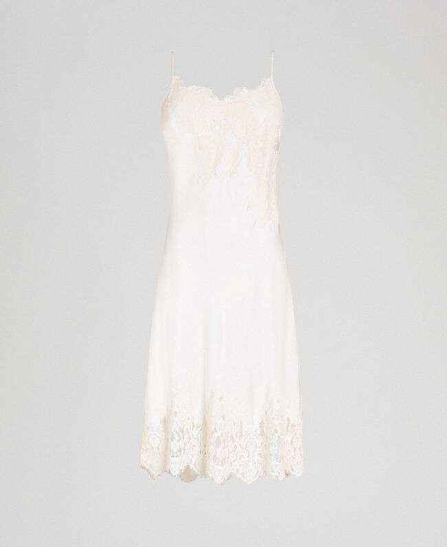 Satin slip with lace Cream Woman 192LI21NN-0S