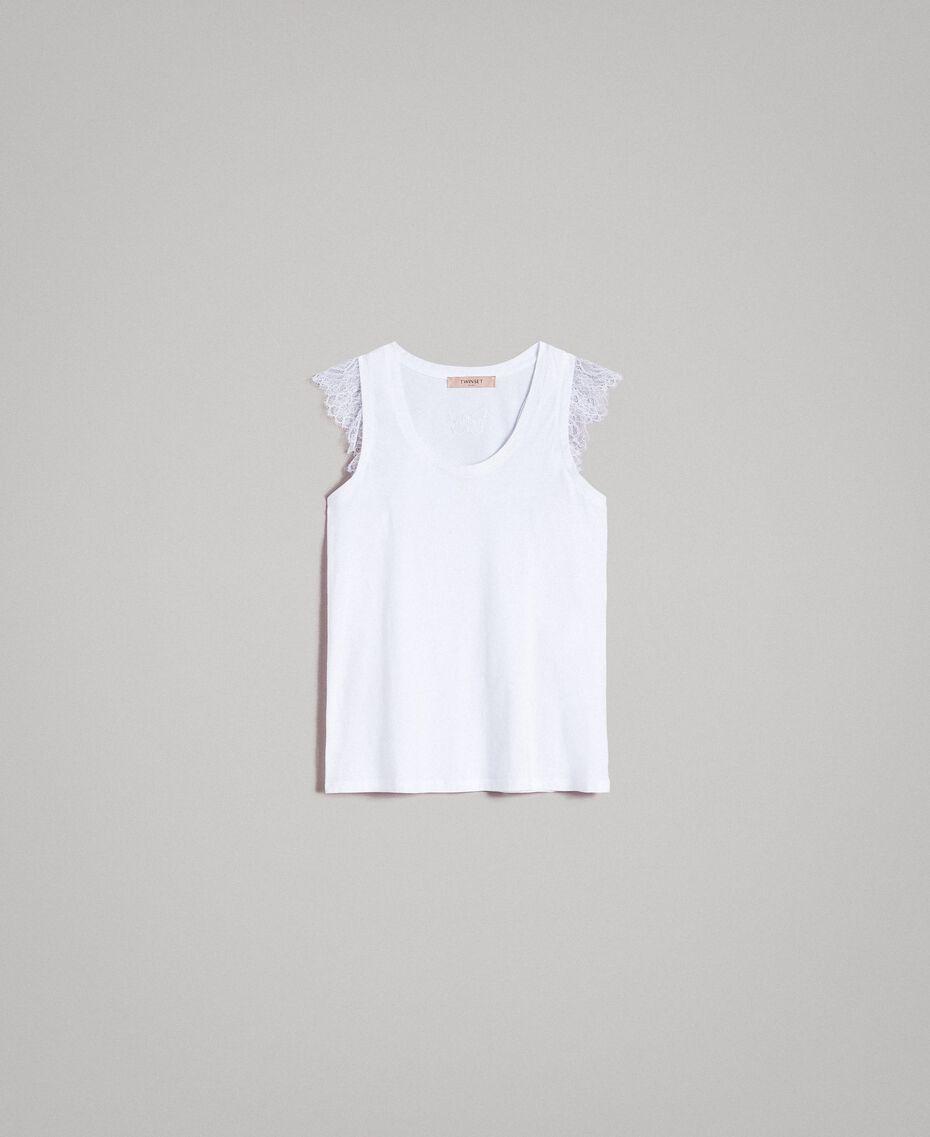 Trägerhemd mit Spitze und Schlitzchen Weiß Frau 191TT2203-0S