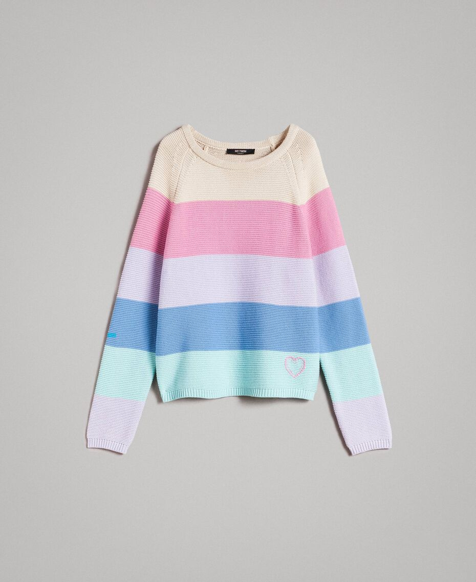 Striped top with heart detail Multicolour Pastel Colour Woman 191MP3011-0S