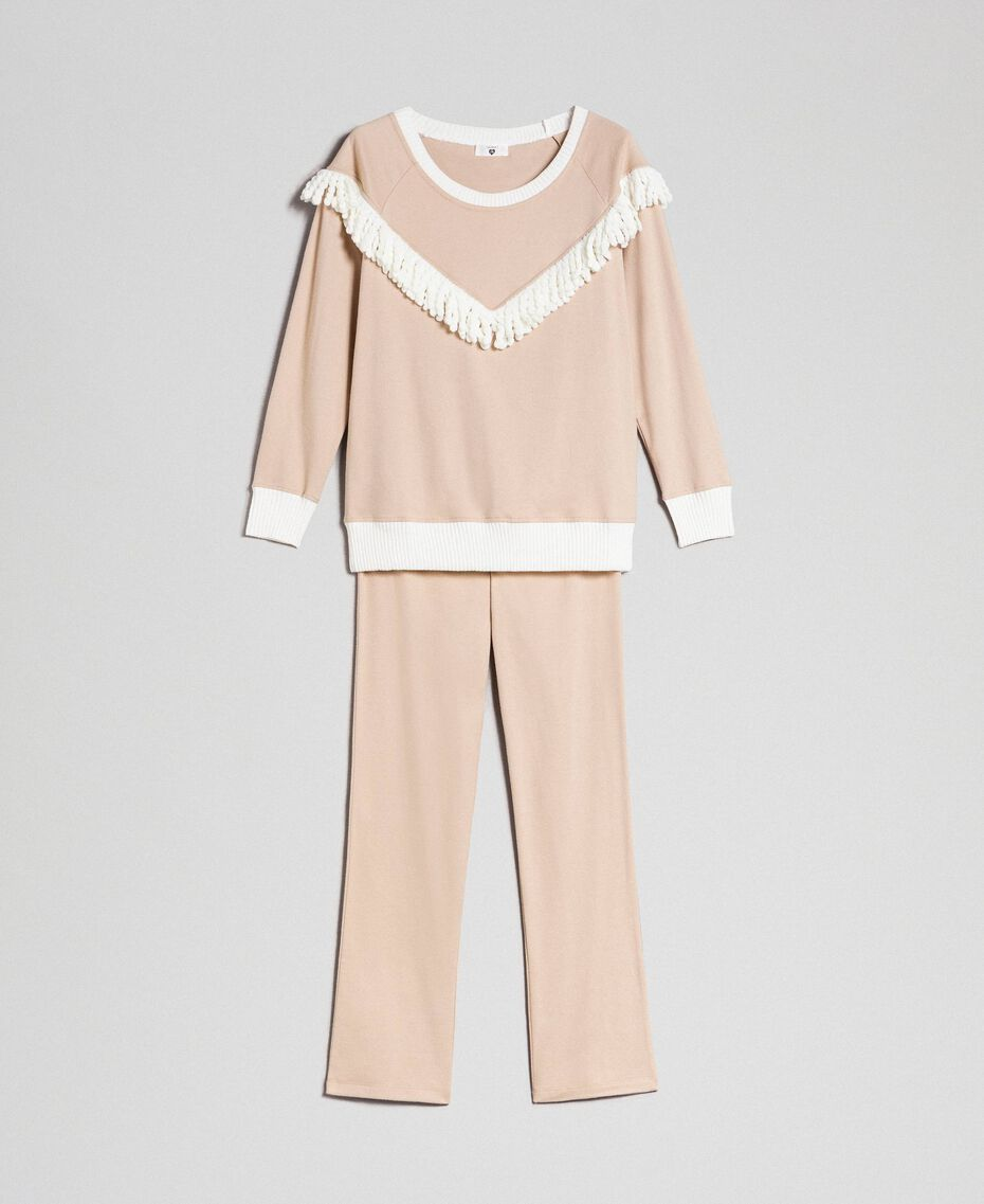 Long pyjamas with fringes Warm Beige Woman 192LL2EGG-0S