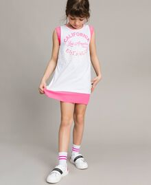 "Mini jersey dress with lace and print Two-tone Optical White / ""Crystal Pink"" Child 191GJ2044-04"