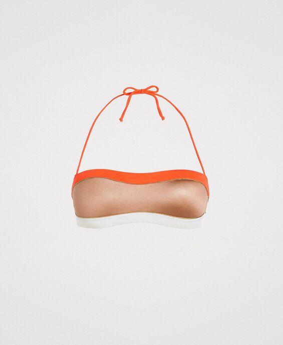 Colour block bandeau bikini top
