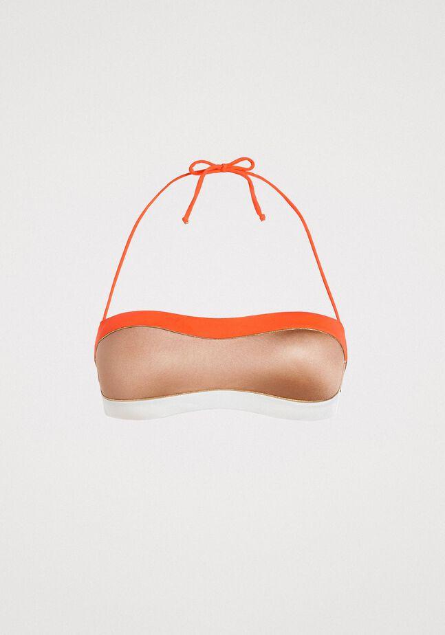 Bandeau-Bikinitop im Color-Block-Look