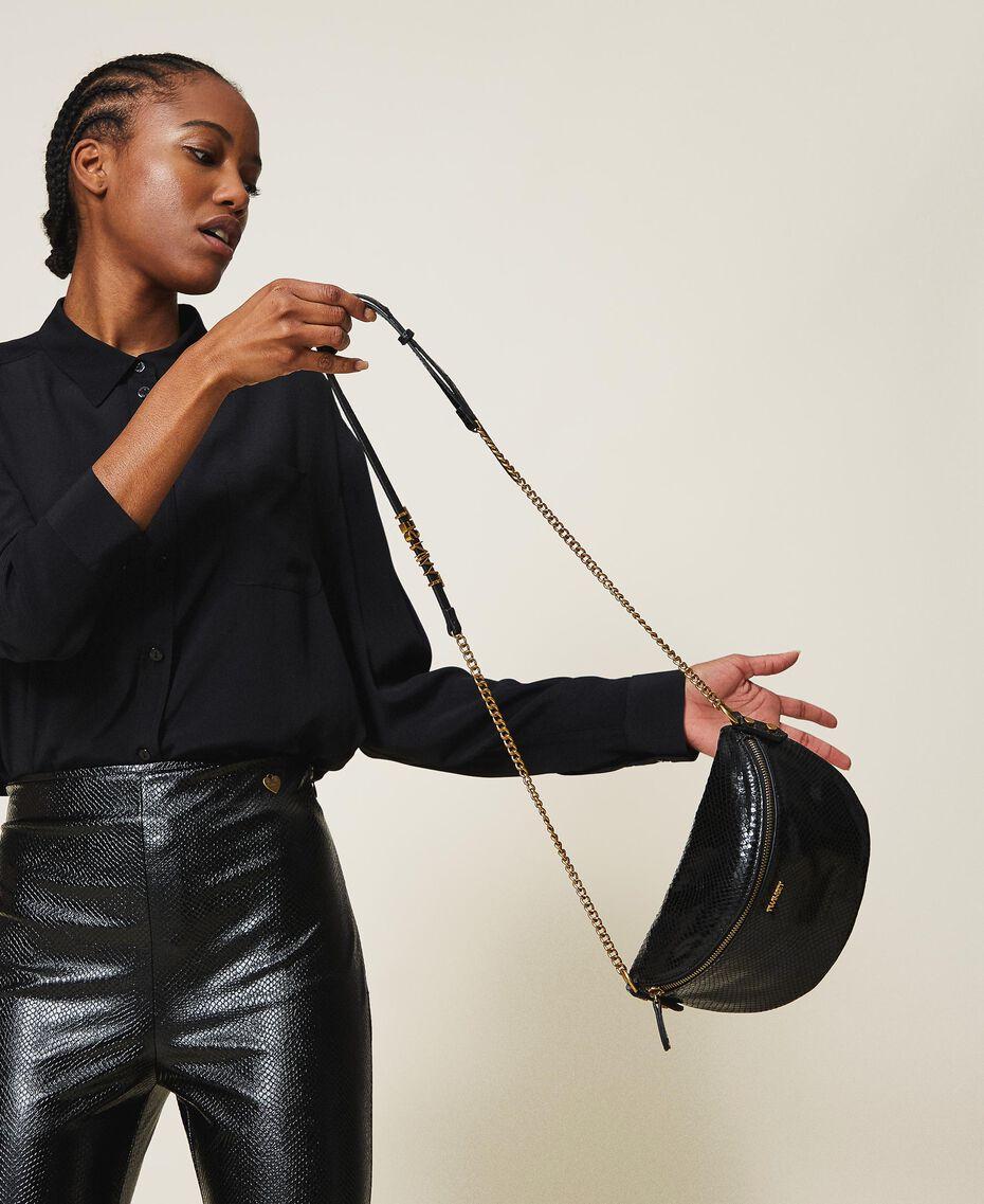 Sac à bandoulière en cuir animalier Imprimé Python Noir Femme 202TD8021-0S