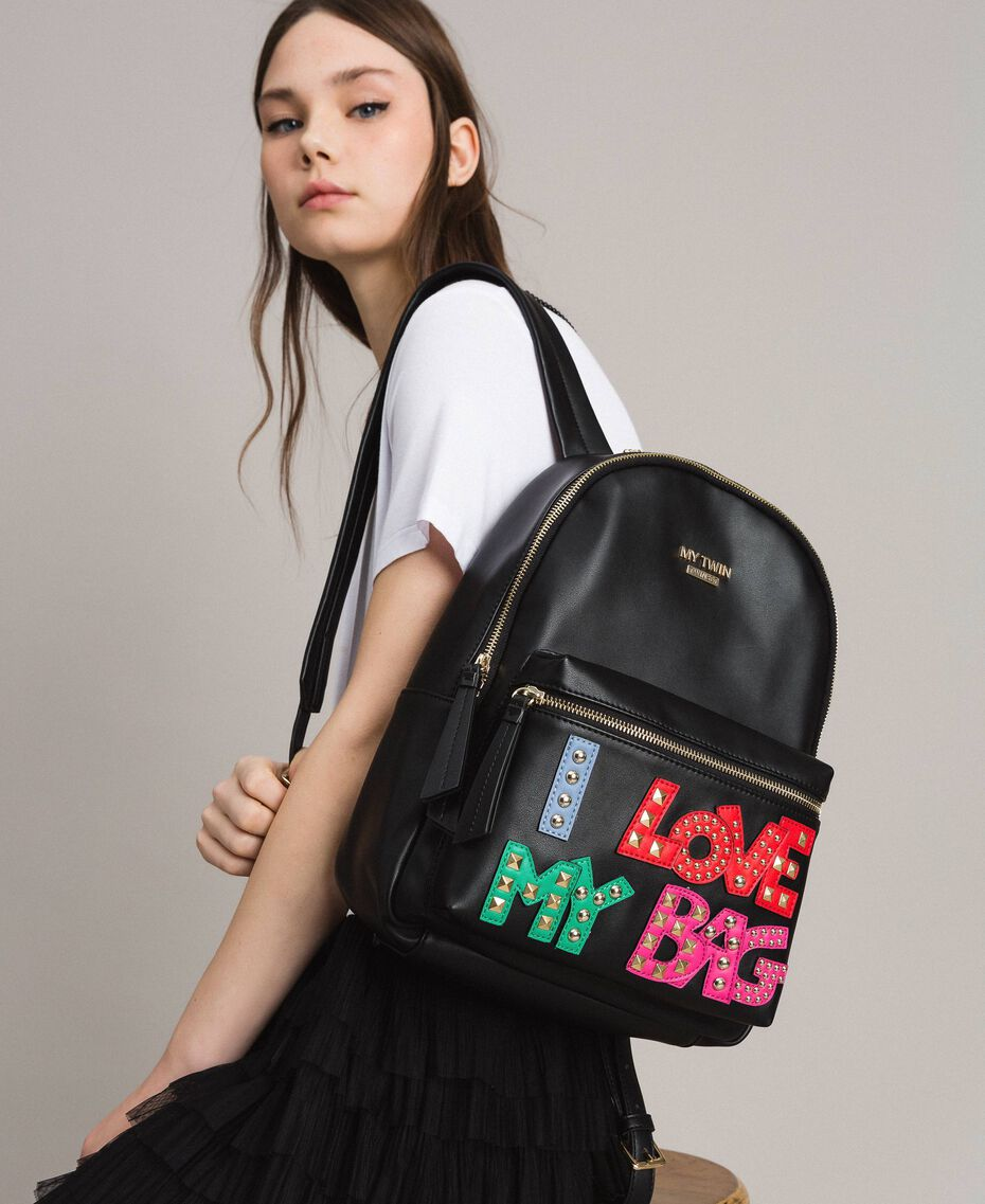 Faux leather backpack with patch and studs Black Woman 191MA7073-0S