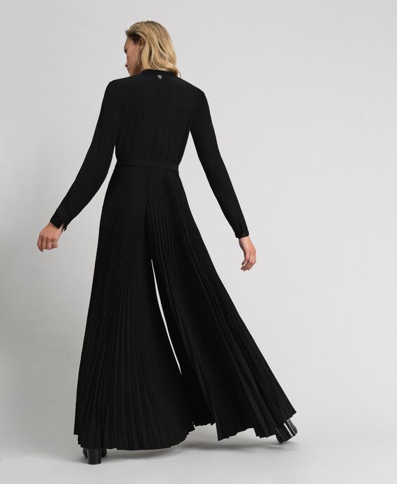 Pleated crêpe de Chine jumpsuit