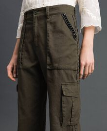 """Combat trousers with stones and studs """"Caper"""" Green Woman 192TP2583-04"""
