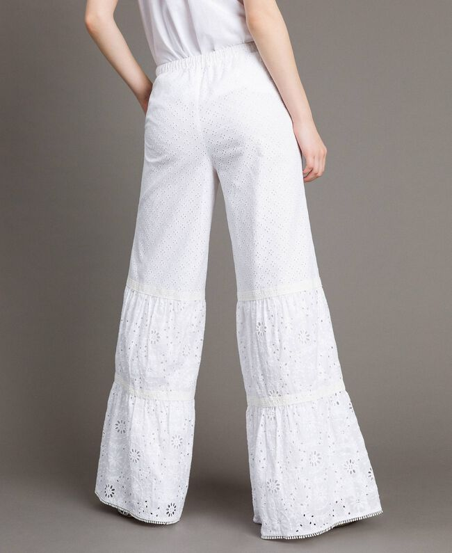 Pantalon en broderie anglaise avec cordon à la taille Blanc Femme 191MT2034-03