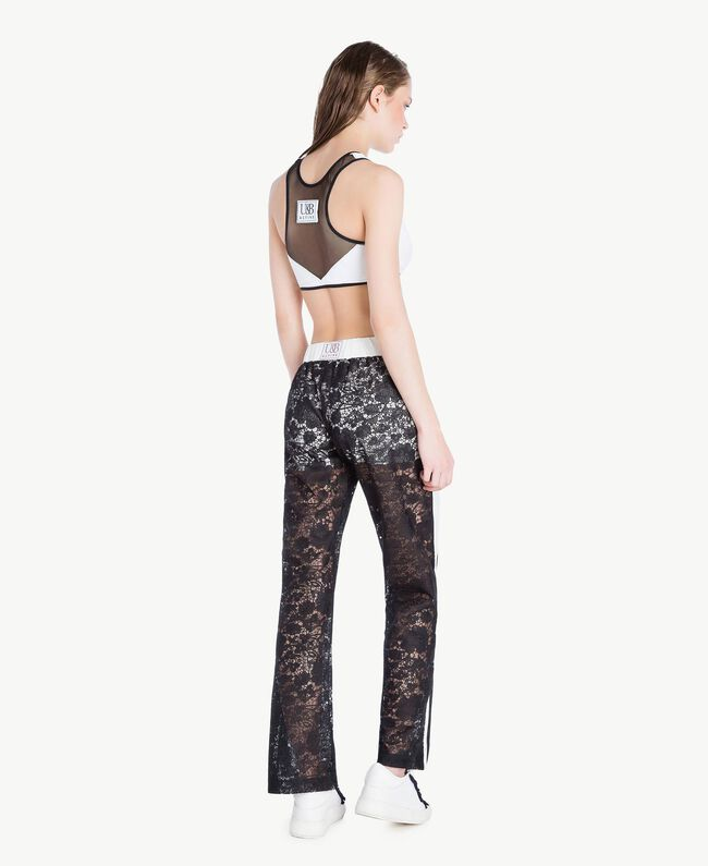 Lace trousers Two-tone Black / Optical White Woman LS89CC-04