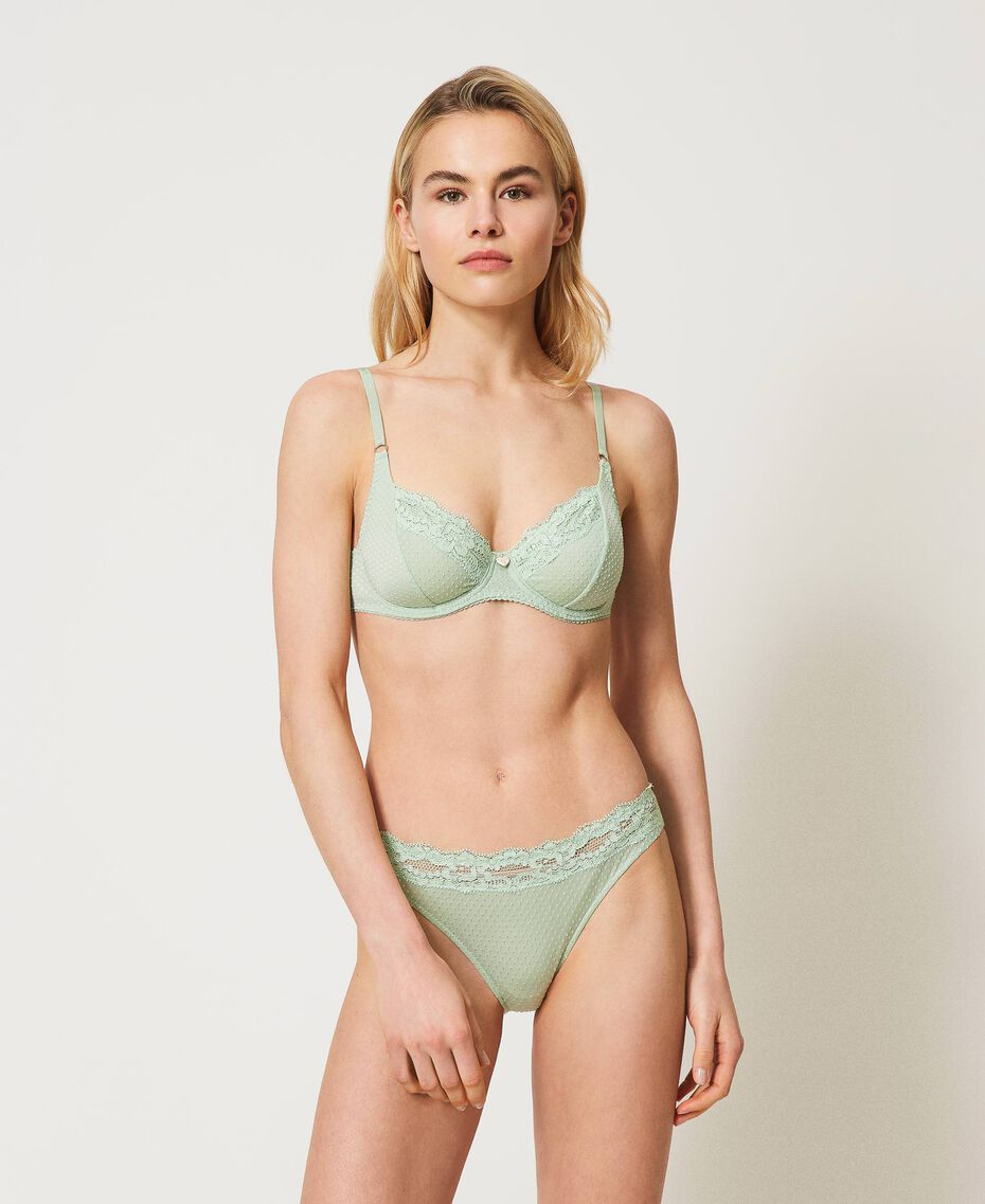 """Jacquard underwire bra with lace """"Pastel Green"""" Woman 211LL6255-02"""