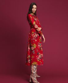 Georgette long dress with floral print Pomegranate Meadow Print Woman 192TP2753-02