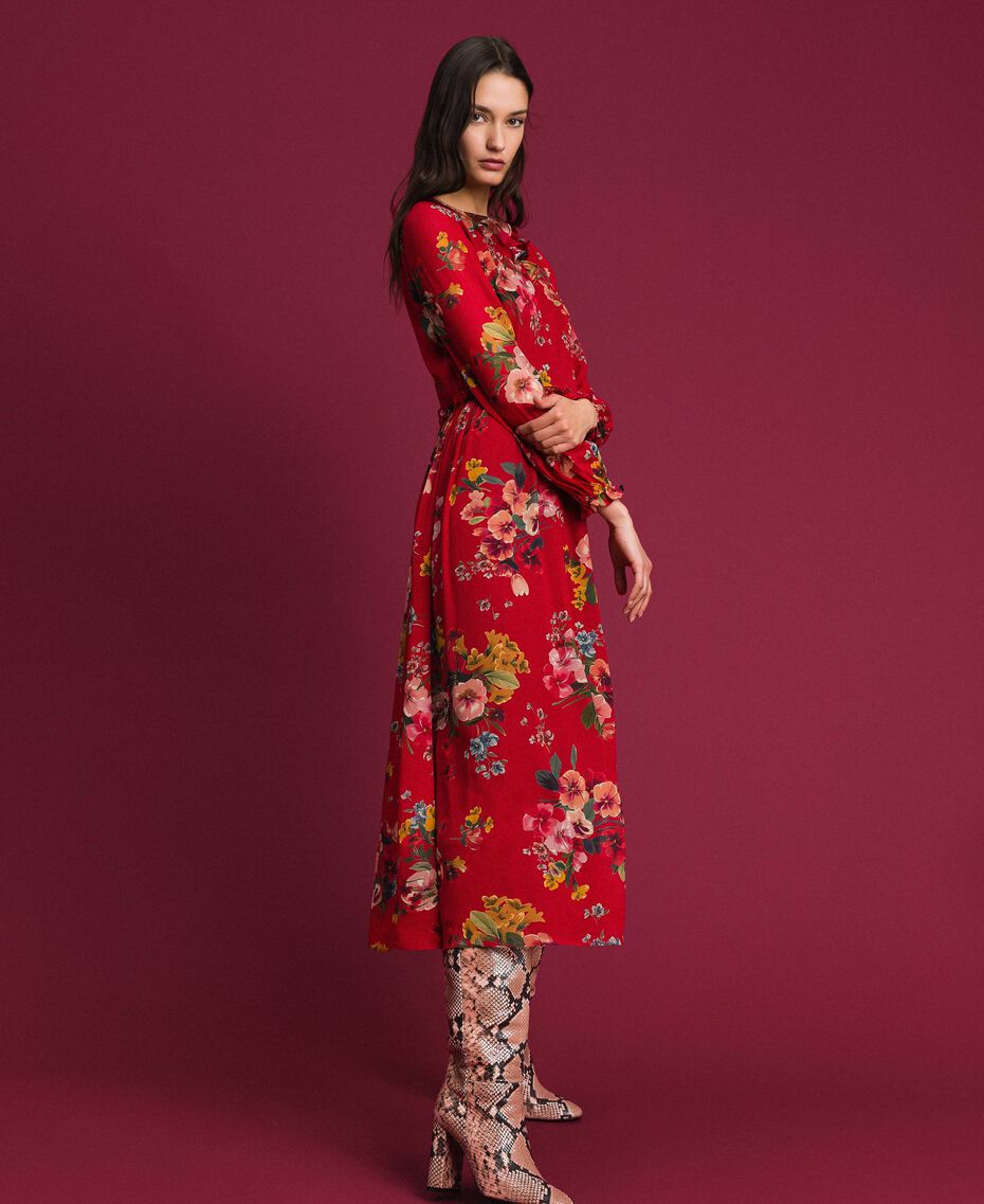 Vestido largo de georgette con estampado floral Estampado Flores de Campo Granada Mujer 192TP2753-02