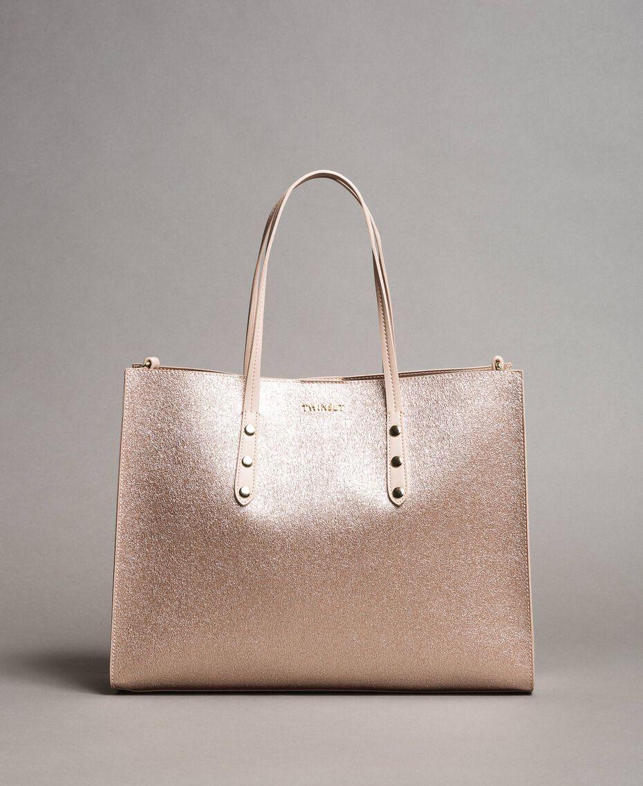 Shopper aus beschichtetem Lederimitat Roségold Frau 191TA7240-02