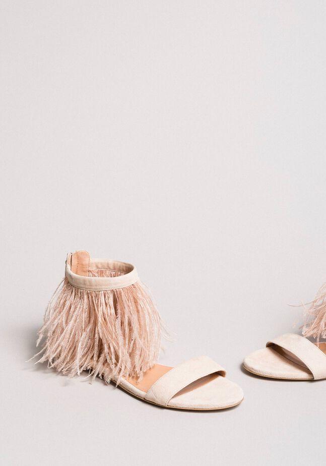 Sandali flat in pelle con piume