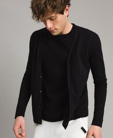 Cotton blend slub cardigan Black Man 191UT3070-02