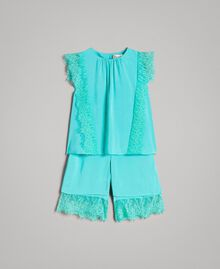 "Blouse and cropped trousers with lace ""Island Paradise"" Light Blue Child 191GB2431-01"