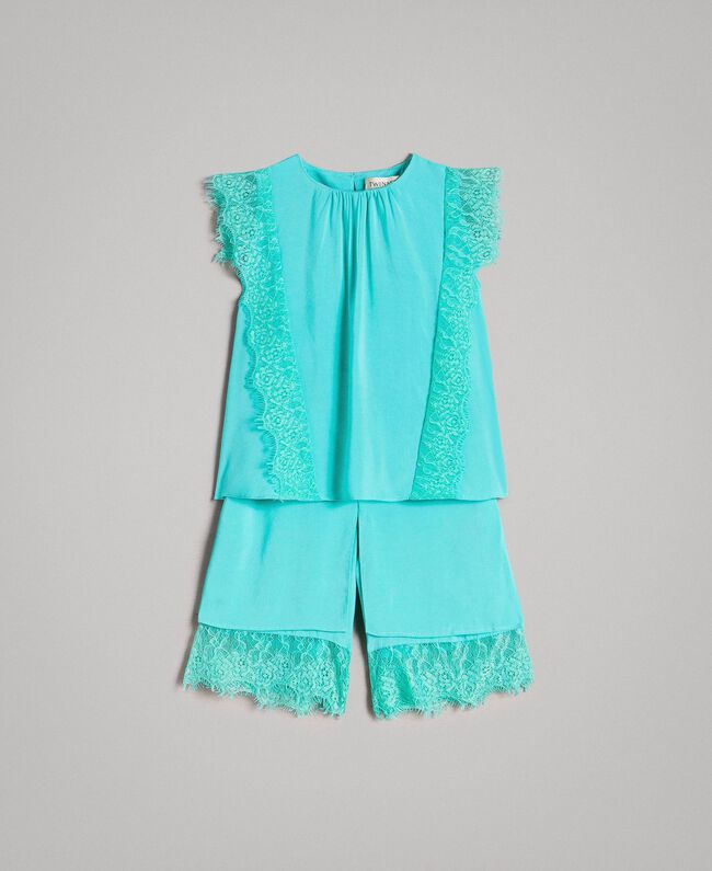 """Blouse and cropped trousers with lace """"Island Paradise"""" Light Blue Child 191GB2431-01"""