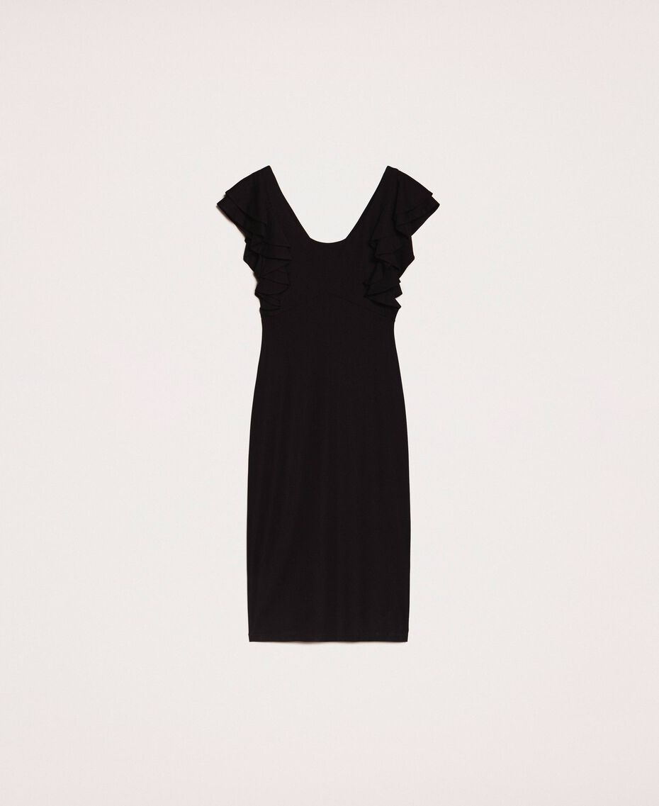 Sheath dress with frills Black Woman 201ST2149-0S
